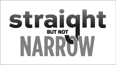 Straight But Not Narrow t-shirt design process: looping the 'g'