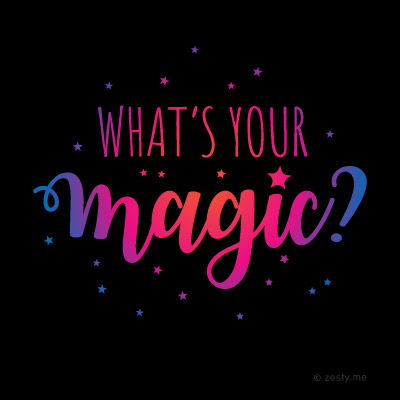 """t-shirt design with the text """"what's your magic?"""""""