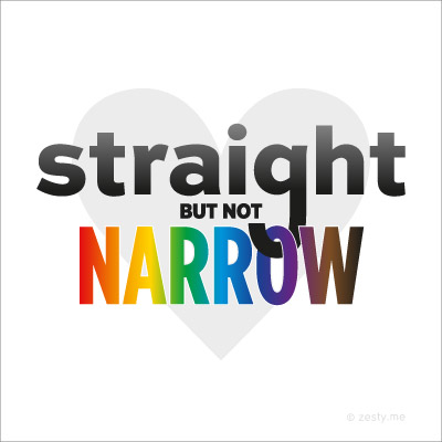 """t-shirt design with the text """"straight but not narrow"""""""