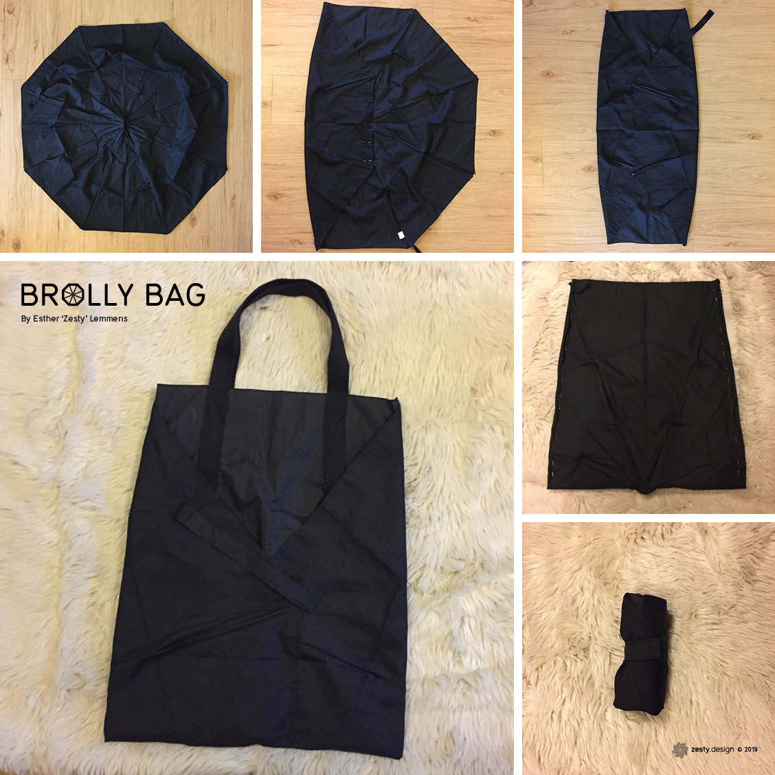 Umbrella bag (brolly bag) collage of images at different stages