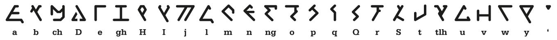 Klingon font 'eSter pIqaD Hab (smooth). Designed by Esther Lemmens ©2020
