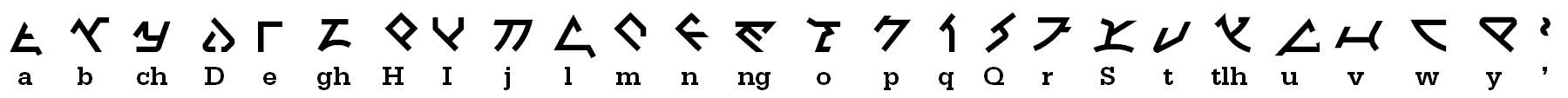 The Klingon pIqaD alphabet , based on the appearance in Star Trek: Discovery