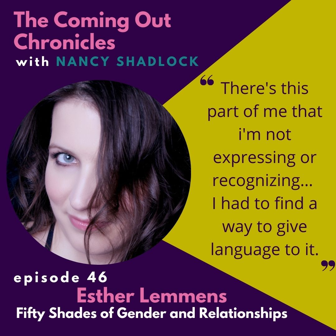 The Coming Out Chronicles with Nancy Shadlock image, episode 46, Fifty Shades of Gender and Relationships with Esther Lemmens